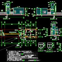 某地污水处理厂大门建筑结构水电全套图