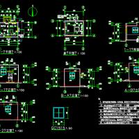 某地污水处理厂深井泵房建筑结构水电全套施工图