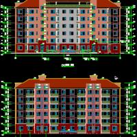 山东6层框架结构带电梯坡顶住宅建筑图(含节能绿建)