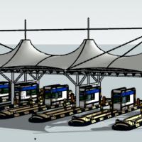 高速公路收费站大棚su模型图