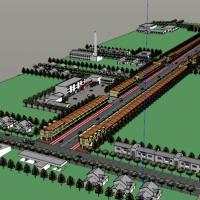 一条很长的商业街su模型图