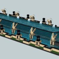 主轴景观水景水池SU模型
